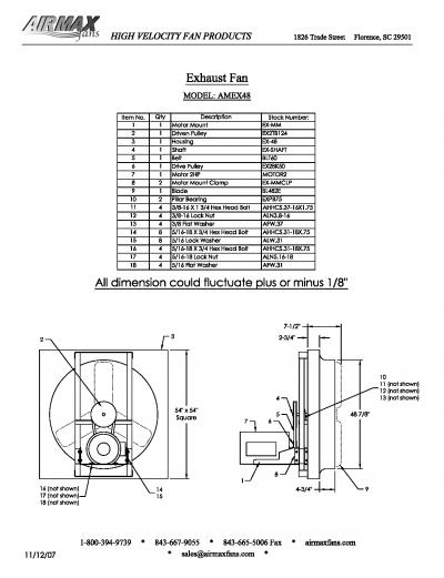 """48"""" exhaust fans parts image"""